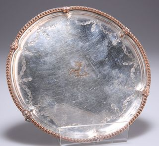 AN OLD SHEFFIELD PLATE WAITER, CIRCA 1775, with beaded edge
