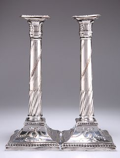 A PAIR OF OLD SHEFFIELD PLATE CANDLESTICKS, CIRCA 1790, of