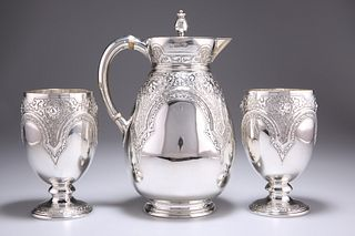 A VICTORIAN SILVER JUG AND PAIR OF GOBLETS, byRichard Mart