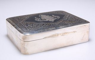 AN EARLY 20TH CENTURY THAI SILVER CIGARETTE BOX, rounded re