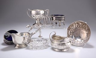 A GROUP OF SILVER, including a George III cream jug, London