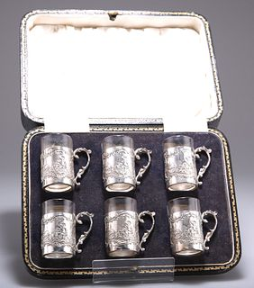 A SET OF SIX GEORGE V SILVER TOT CUPS,byJames Dixon & Son