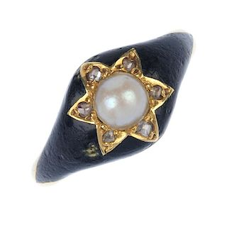 A mid Victorian 18ct gold enamel and gem-set memorial ring. The split pearl, within a diamond point