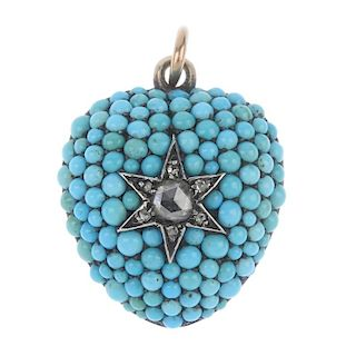 A mid Victorian 15ct gold diamond and turquoise memorial pendant. The front designed as a pave-set t