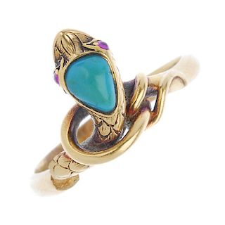 A mid Victorian 15ct gold gem-set snake ring. The pear-shape turquoise head, with pink gem cabochon