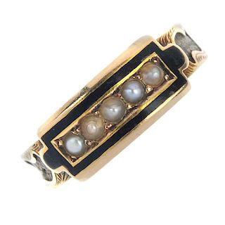 A mid Victorian 15ct gold split pearl and enamel memorial ring. The split pearl line, within a black