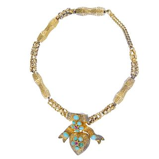 A mid 19th century gold turquoise memorial bracelet. Designed as a scroll engraved heart-shape locke