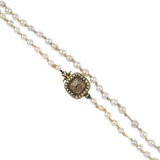 A mid 19th century imitation pearl single-strand necklace. Comprising a single row of imitation pear