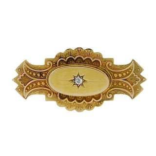 A late Victorian 9ct gold and diamond memorial brooch. The central oval-shape panel set with a circu