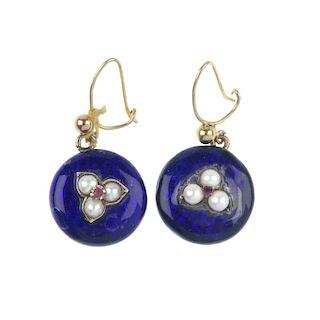 A pair of gem-set and enamel ear-pendants. Each designed as a circular-shape blue enamel panel, with