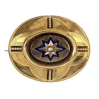 <p>A late Victorian 18ct gold mourning brooch. Of oval outline, the blue enamel starburst with split