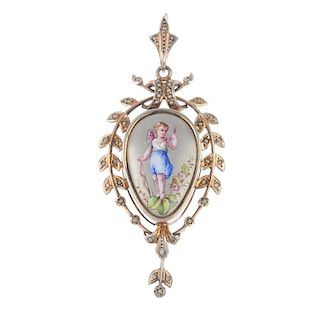 A late 19th century gold seed pearl picture locket/pendant. The central painted panel depicting a pu