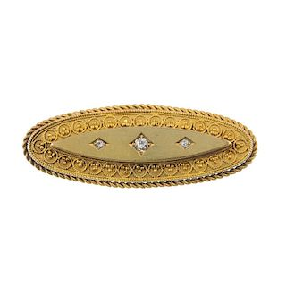 A late Victorian gold diamond brooch with memorial panel. Of marquise-shape outline with three centr