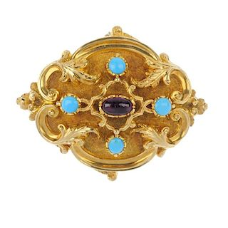 A late 19th century gold garnet and turquoise brooch. The oval garnet cabochon, to the circular turq