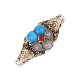 A late Victorian gold gem-set memorial ring. The turquoise, split pearl and red gem floral cluster,