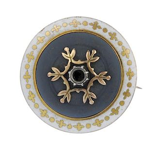 A late 19th century 15ct gold enamel memorial brooch. The foliate overlay, to the circular-shape gem