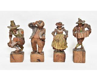 Four Carved Austrian Beer Hall Dancers