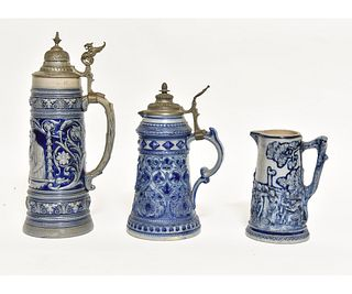 Two German Stoneware Steins and Pitcher