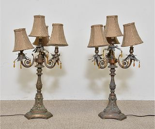 Pair of Continental Style Tall Lamps