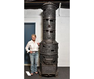Massive Cast Iron German 'Gymnasium' Furnace