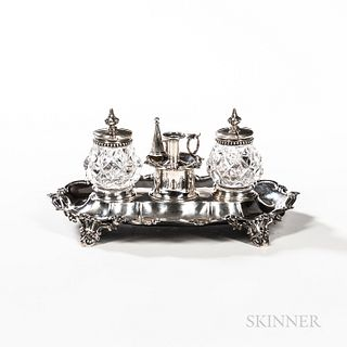 Assembled Victorian Sterling Silver Standish