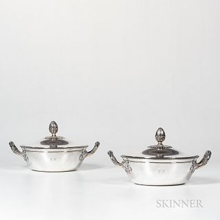 Pair of French Sterling Silver Covered Vegetable Dishes