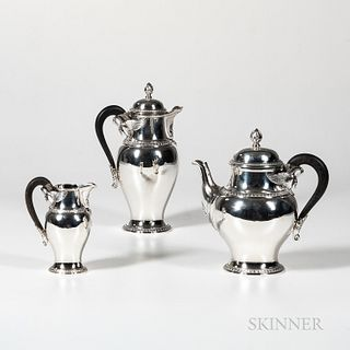 French Three-piece Sterling Silver Tea and Coffee Set