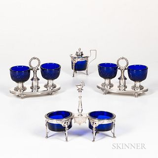 French Cobalt and Sterling Silver Serving Pieces