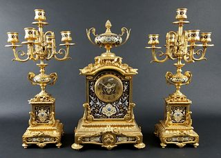 Late 19th C. 3 Pc. French Gilt Bronze and Enamel Louis