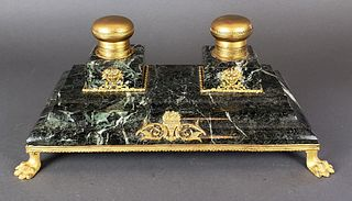 French Bronze & Marble Inkwell