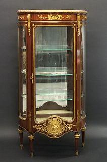 A Louis XVI Style Gilt Bronze Mounted Mahogany Vitrine