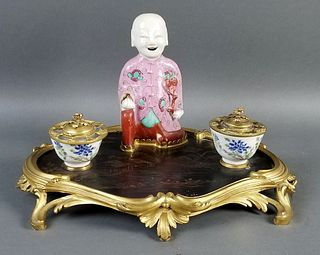 Late 19th C. French and Chinese Porcelain Chinoiserie