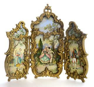 Large Viennese Enamel & Bronze Table Screen