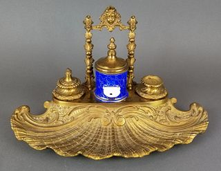 19th C. French Large Bronze & Porcelain Inkwell