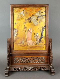 19th C. Chinese Hand Carved Table Screen