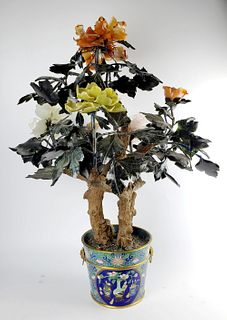 Large Chinese Jade Flowers in Cloisonne Pot