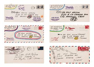 HC Westermann (American, 1922-1981) Untitled (To Rolf Nelson), 1963-68 (a group of six embellished envelopes)