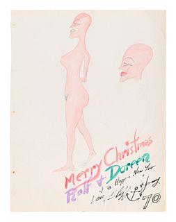 HC Westermann (American, 1922-1981) Untitled (Merry Christmas Rolf + Doreen), 1970