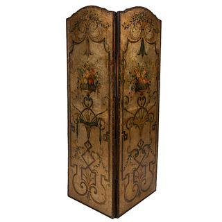 Biombo. SXX. Óleo sobre tela adherida a madera. Estilo neoclásico. A 2 hojas. Decorado con elementos florales, frutales y otros.