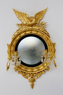 American Carved and Gilt Girondale Convex Mirror, circa 1840