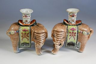 Pair of Famille Rose Elephant Candlesticks, 18th Century