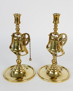 Exceptional Pair of English Brass Tavern Sticks, 19th Century
