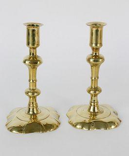 Pair of English Queen Anne Brass Candlesticks, circa 1760