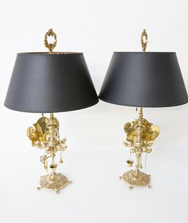Pair of Cast and Polished Brass Lucerne Lamps, 19th Century