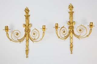 Pair of Carved and Gilt Sconces, circa 1890