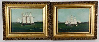 Pair of American Naive Ship Portraits, circa 1870s