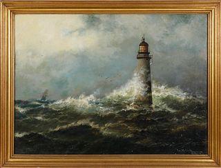"L.M. Cook Oil on Canvas ""Storm Off Minots Light - Cohassett Harbor"", circa 1886"