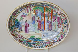 Chinese Export Clobbered Mandarin Oval Vegetable Dish, early 19thCentury