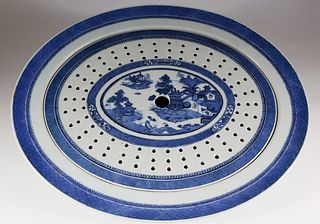 Nanking Oval Meat Platter with Strainer, late 19th Century