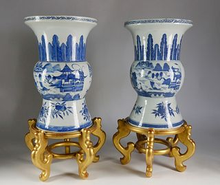 Near Pair of Canton Baluster Urns, mid 19th Century